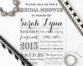 Black & White Bridal Shower Invitations - Printed, Wedding Vintage Baby Engagement Couples Brunch Typography Rustic Newspaper Modern - #009