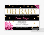Black White Baby Shower Invitations - Printed, Gold Hot Pink Glitter Oh Baby Flowers Striped Modern Confetti Brunch Couples Sprinkle - #018