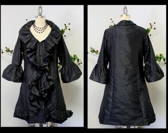 Romantic and Stylish Jacket, Artsy Jacket, Poly Raw Silk Jacket, Black jacket, Designer Jacket M/L, L/XL, /XL/1XL