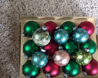 Satin VIntage Shiny Brite with Poke A Dot Ornaments Lot
