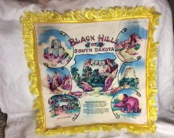 Vintage Black Hills Souvenir South Dakota Pillow Cover