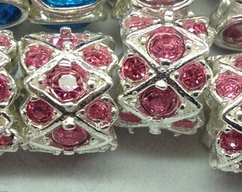 925 Sterling Silver Plated Pink or Sapphire Blue color crystals european type charm with the large hole.