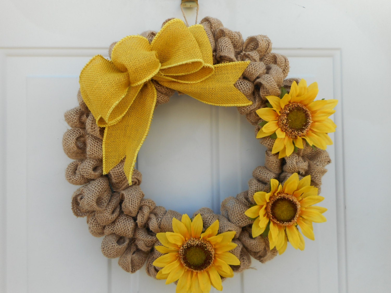Country Wreath Burlap Wreath Sunflower Wreath Sunflower