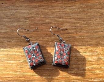 Red Flower Polymer Clay Earrings Handmade