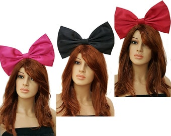 Giant Extra Large Satin Alice and Wonderland Inspired Hair Bows- Kiki Delivery Services- Hot Pink Barbie- Red- Black- or Pink- Cosplay-