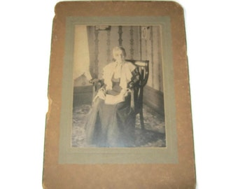 Antique 1900s Photo of Seated Granny