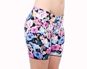 Floral Biker Shorts Retro 90s Fashion Cotton Lycra Picot Edge Trim Modesty Pants