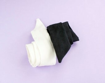 Suede Headband Adjustable Wired Bandana Black or White Hair Accessories