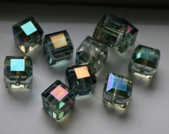 Beautiful 10 mm Crystal Clear Square Cube Beads