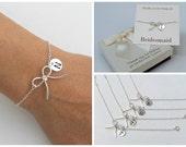 Free Shipping. Set of 4 personalized sterling silver bow bracelet. bridesmaids bracelet,  monograme bracelet