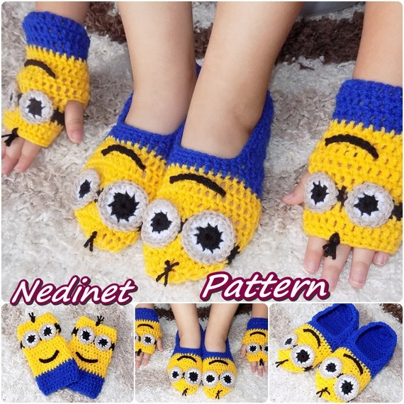 Free Crochet Pattern Minion Mitts : Crochet Minion slippers Minion mittens INSTANT DOWNLOAD