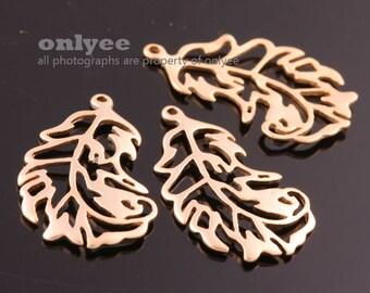 2pcs-23mmX13.5mm Matt Gold plated over Brass Nature delicate leaf Charm/pendant(K879G)