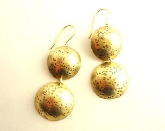 Hammered and Domed Brass Disc earrings/ gypsy earrings/ rustic earrings/ Artisan earrings/ geometric earring/ boho earrings/ minimalist