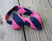 Pink and Navy Adjustable Bow Tie