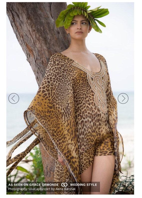 Irina Shabayeva Leopard print high low caftan gown.