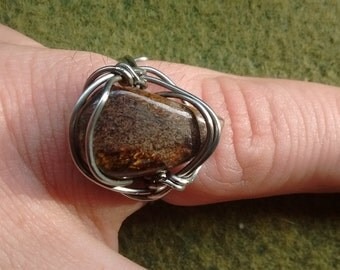 handmade bronzite ring, bronzite wire wrapped ring, silver bronzite ring, gypsy ring, bronzite jewelry