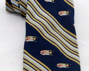 Vintage Men's Tie/ Retro Necktie/ Blue Yellow Fish