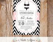 Black and Light Pink Chevron Lingerie Shower Bachelorette Party bridal party shower invitation - choose your chevron and accent color
