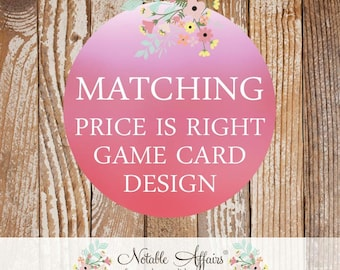 Matching Price is Right game sheet - Choose your invitation and game card will match the colors and theme