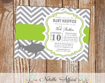 Gray and Chartreuse Green Chevron Shark Baby Shower Invitation - colors can be changed