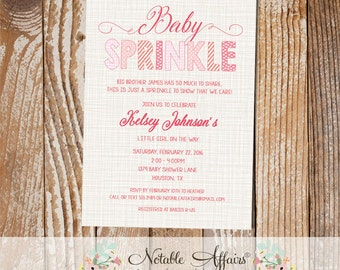 Baby Girl Baby Sprinkle invitation on brown linen background - pinks yellows corals - no color changes