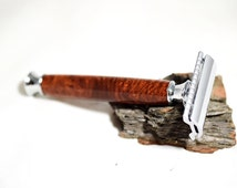 handcrafted wooden safety razor, handcrafted wood safety razor, anniversary gift ideas, groomsmen gift, christmas gift double edge razor