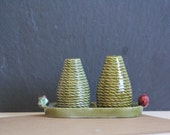 SALE 50 OFF Vintage Salt and Pepper Shakers with Base Green Red Strawberries Secla Portuguese Pottery