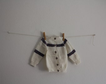 Vintage Baby Knitwear Wool Toddler Jacket Knitted Baby Cozy Handmade Kids Fall Winter Clothing White Purple Blouse