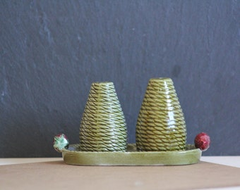 Vintage Salt and Pepper Shakers with Base Green Red Strawberries Secla Portuguese Pottery
