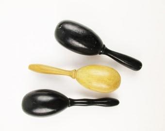 Three Darning Eggs - Wood Darning Eggs - Sewing Accessories - Seamstress - Black Darning Egg on Handle - Maple Darning Egg on Handle