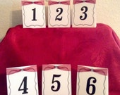 Table Numbers...Red and Black...Tent Style...Wedding...Anniversary...Event...Set of Six