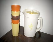 Vintage 70s Tupperware Harvest Gold Yellow & Soft Beige 2 Qt. Pitcher  And 5 Autumn Colored Tumblers, 12 Oz. Excellent