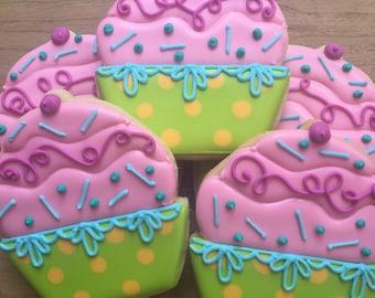 Cupcake Decorated Sugar Cookies- 1 Dozen