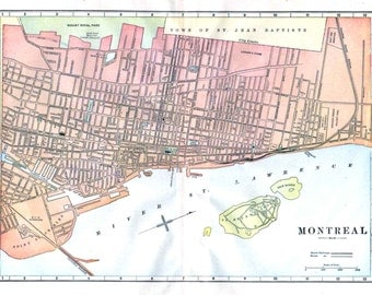 Montreal Map, Antique 19th Century City Map, Quebec Canada, Detailed Streets Railroads Horse Carriage Roads, Wall Decor 14.25 x 11 In
