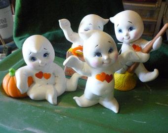 4 Cute Ghosts Handpainted