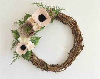 Wreath || Wreaths || Flower Wreath || Twig Wreath || Spring Wreath || Felt Flower Wreath || Modern Wreath || Wedding Wreath || Wreath Decor