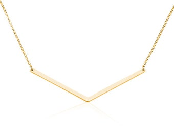 Chevron Necklace Bar Necklace Arrow Necklace- 925 Sterling Silver Plated in 18k Gold