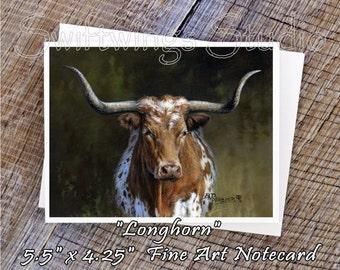 Wildlife Note Cards - Longhorn Note Cards - Longhorn Print - Longhorn Art - Western Stationary - Western Note Cards
