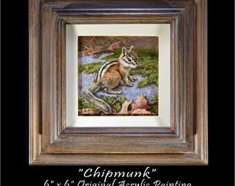 Wildlife Paintings - Original Chipmunk Painting - Original Wildlife Painting - Animal Painting - Chipmunk Image