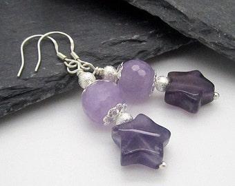 Purple Star Gemstone Earrings, Amethyst Dangle Earrings, Gemstone Star Jewellery, Semi Precious Stone Earrings, Sterling Silver, Handmade