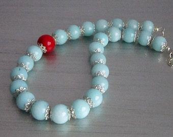Blue Gemstone Necklace, Blue Jade Jewellery, Semi Precious Stone, Chunky Jewellery, Natural Stone,