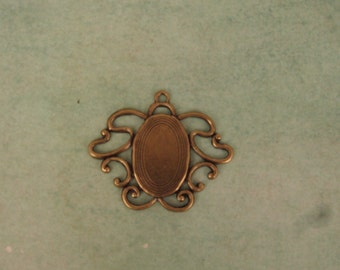 Art Nouveau Style Setting Base Pendant - Center Holds an 18x13mm Flat Back Cab or Stone - Absolutely Delightful Ox Brass