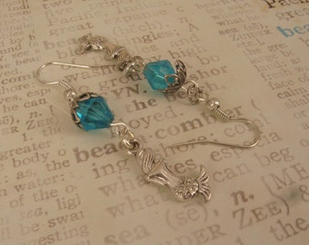 100% DONATION   ITEM -  Sweet Little Mermaid Charm Earrings on Swarovski Sapphire Bicones with Antique Silver Bead Caps