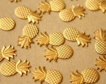 6 pc. Small Raw Brass Pineapples: 16mm by 10mm - made in USA | RB-595