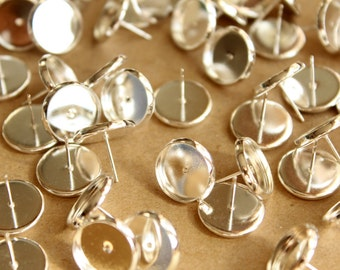 30 pc. 12mm Ear Post Blank Cabochon Setting Bright Silver, Nickel Free| FI-238