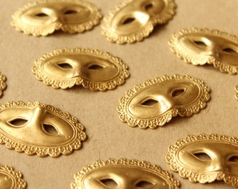 2 pc. Raw Brass Masquerade Mask Stampings: 34mm by 19mm - made in USA | RB-711