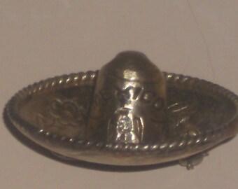 Vintage Mid Century Silver Sombrero Brooch