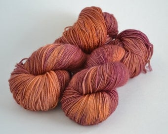 Hand dyed yarn pick your base - Raj - sw merino cashmere nylon fingering dk worsted
