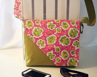 Green Flowers on Pink Background with Solid Green Messenger Style Cotton Purse