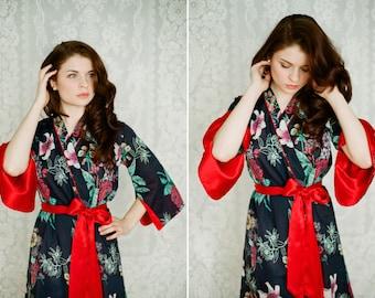 One lined custom Angel Sleeve robe or dressing gown with pockets. Kimono robe Art Deco robe Bohemian robe Cotton kimono robe Womens robe